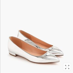 J. Crew Pointed Toe flats in Mirror Silver